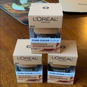New set of 3 L'Oréal Pure sugar Scrub/Exfoliant
